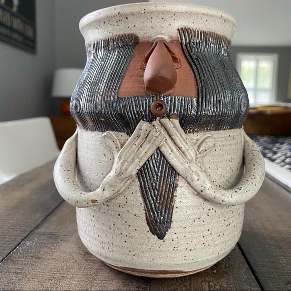 Vintage 1975 Pottery Mug Face Planter Pot Cup